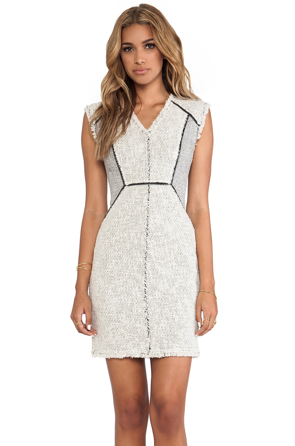 Rebecca Taylor Zip Tweed Combo Dress in Pece