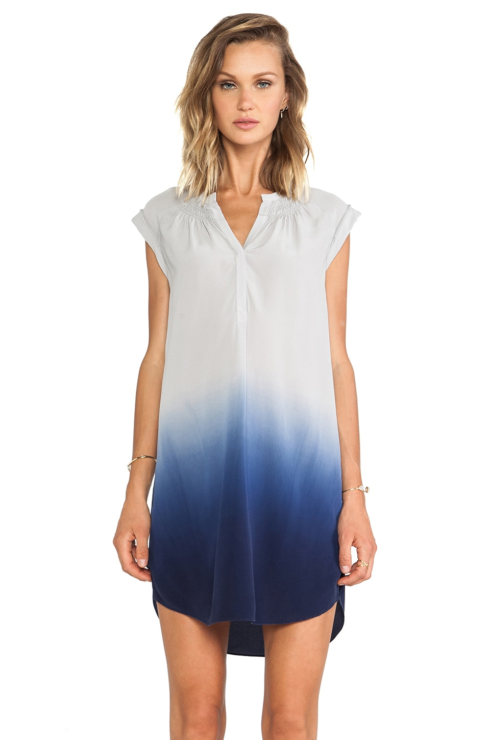Rebecca Taylor Dip Dye Silk Ombre Dress in Slate & Moon