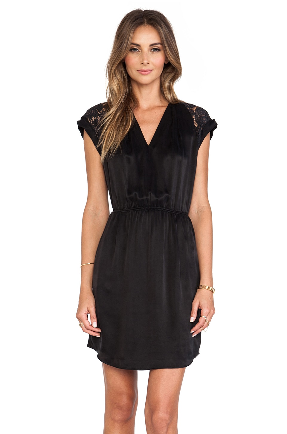 Rebecca Taylor Lace Inset Dress in Black