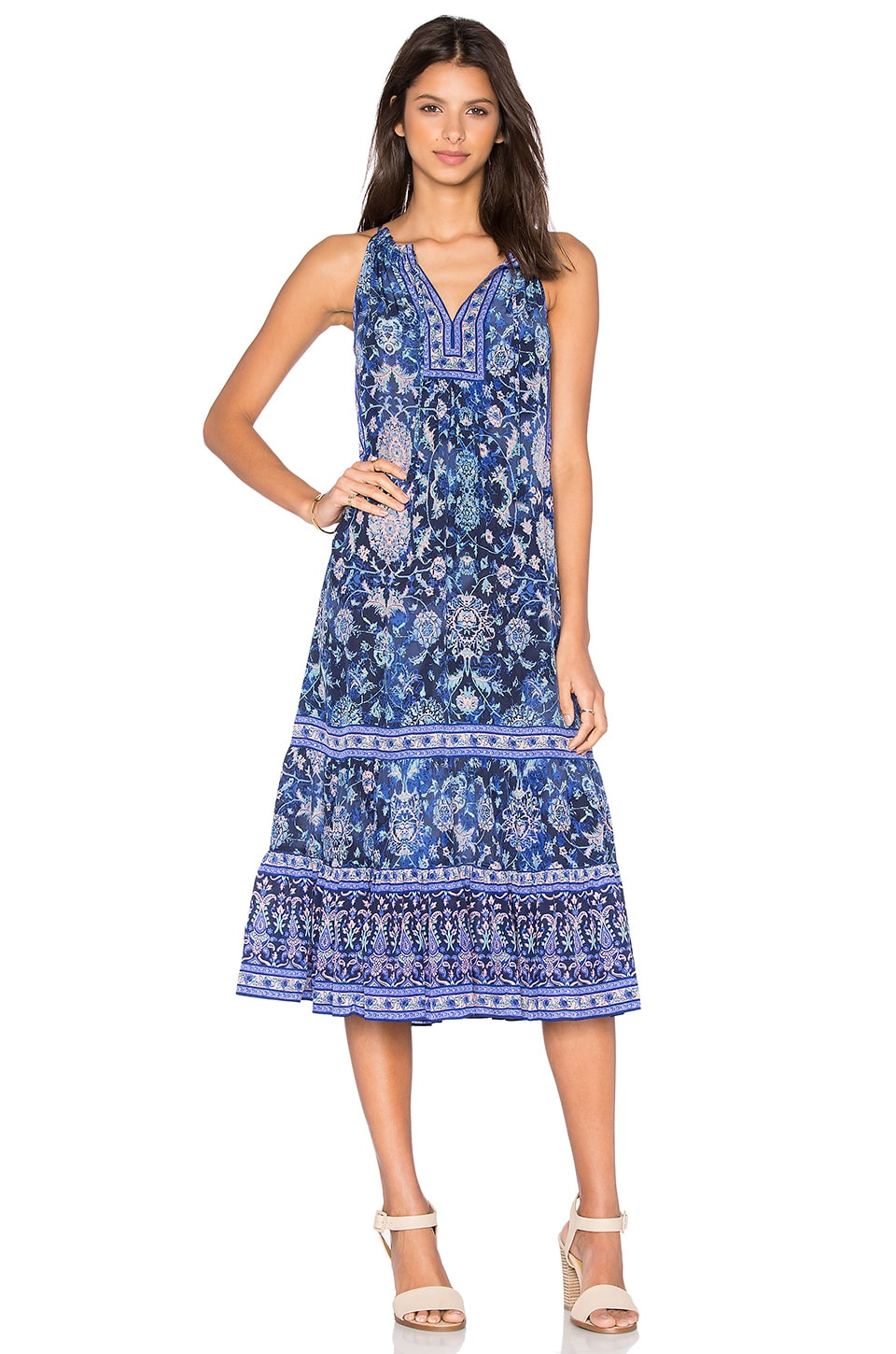 Rebecca taylor smocked silk maxi dress