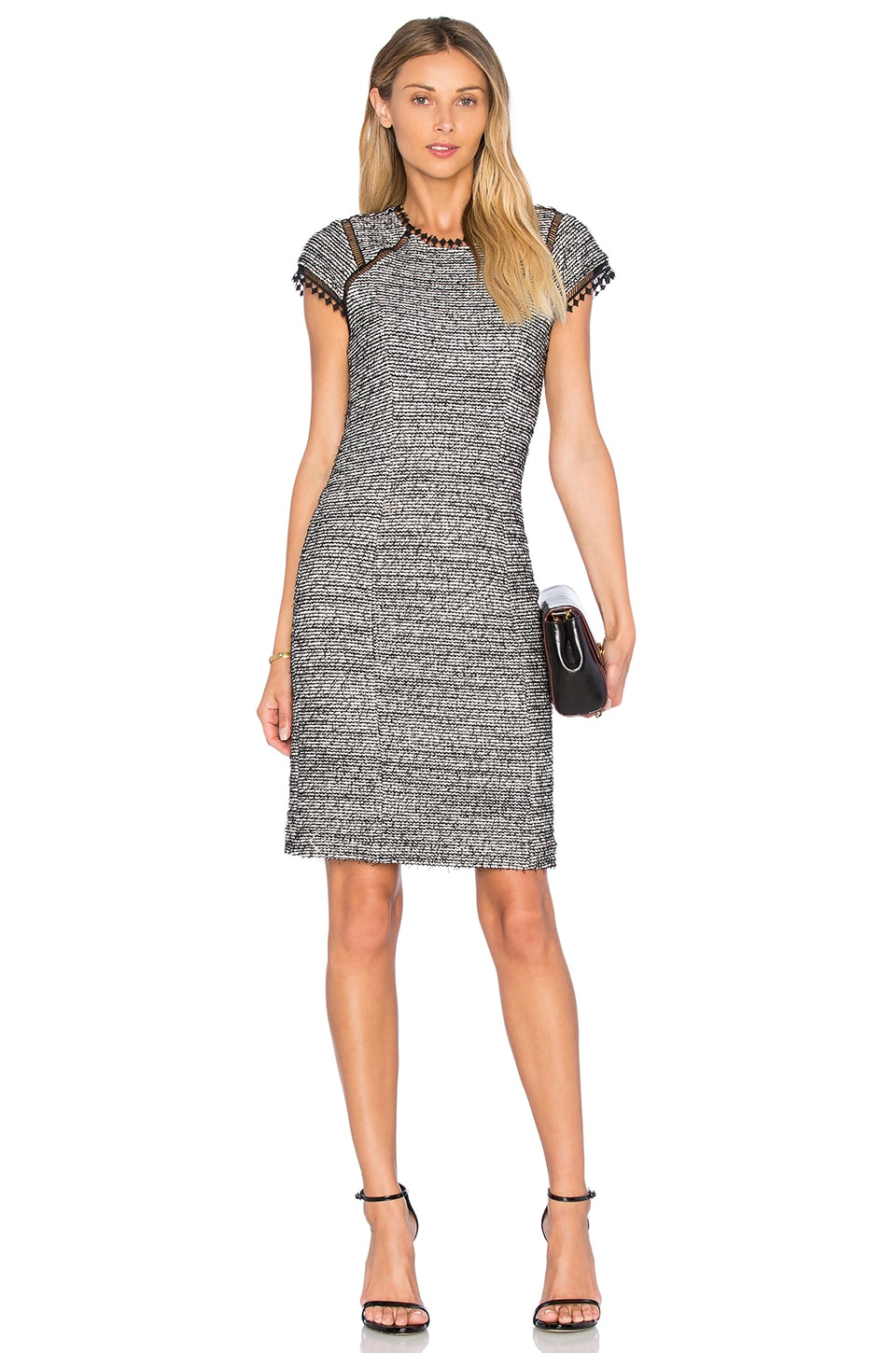 Short Sleeve Stretch Tweed Shift Dress by Rebecca Taylor