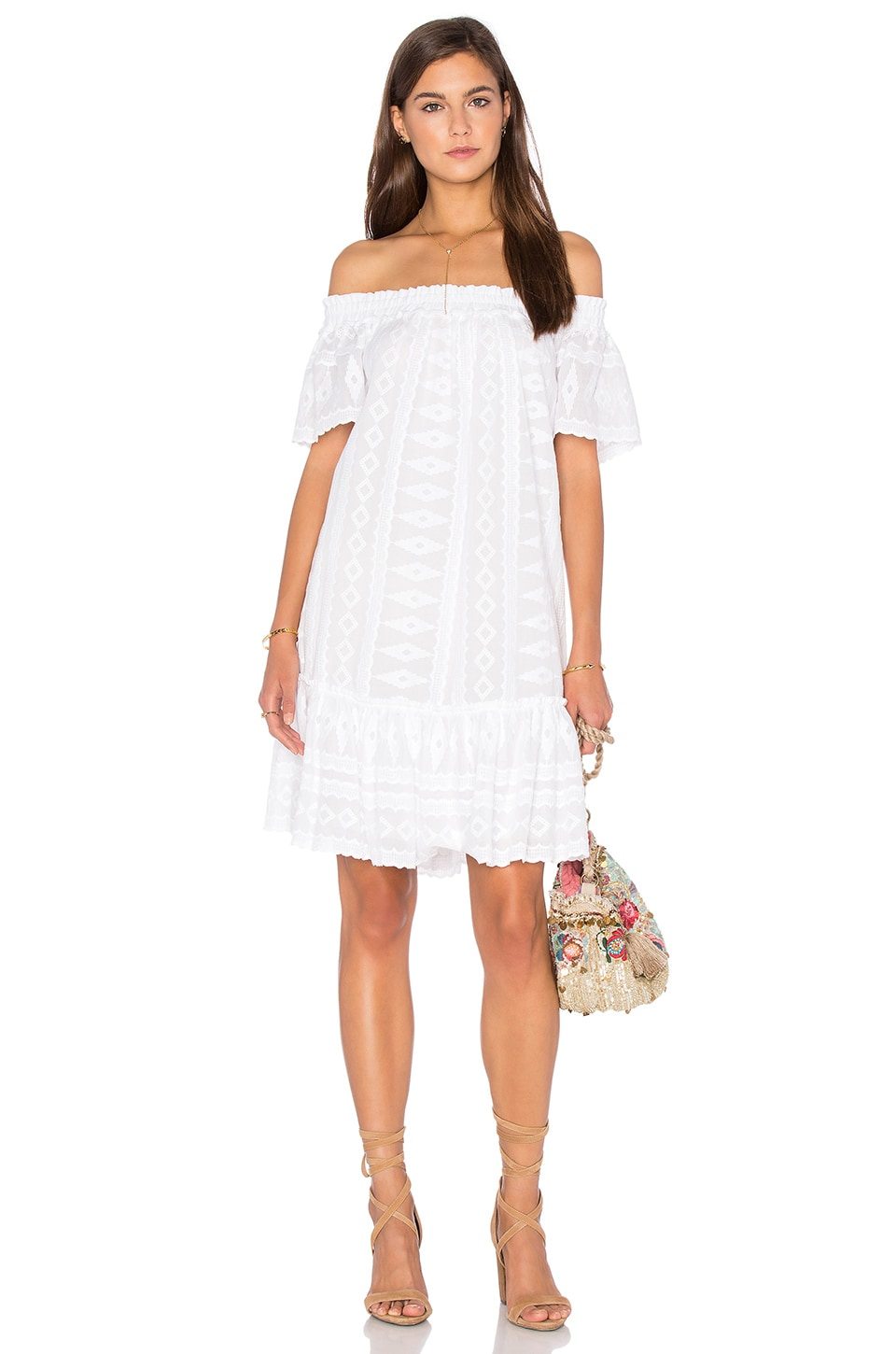 Rebecca Taylor Off Shoulder Embroidered Gauze Dress in Sea Salt