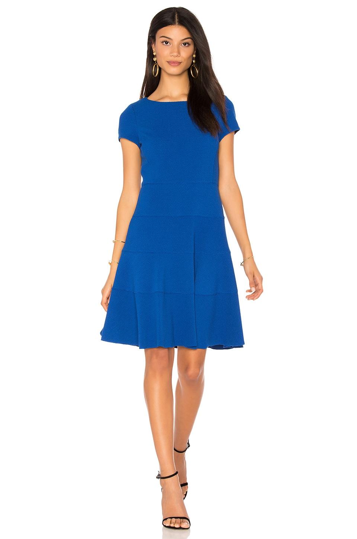 Rebecca Taylor Short Sleeve Diamond Texture Dress in Royal Blue
