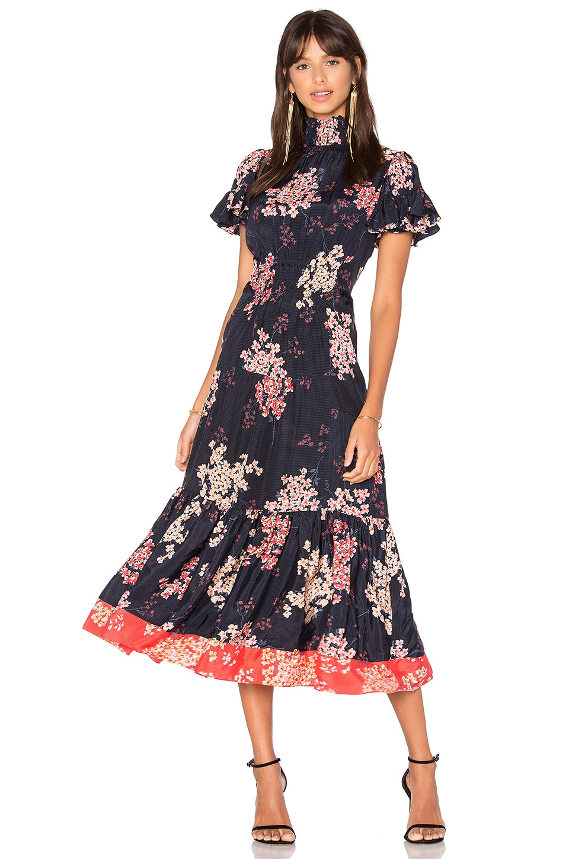 Rebecca Taylor Phlox Midi Dress in Dark Navy