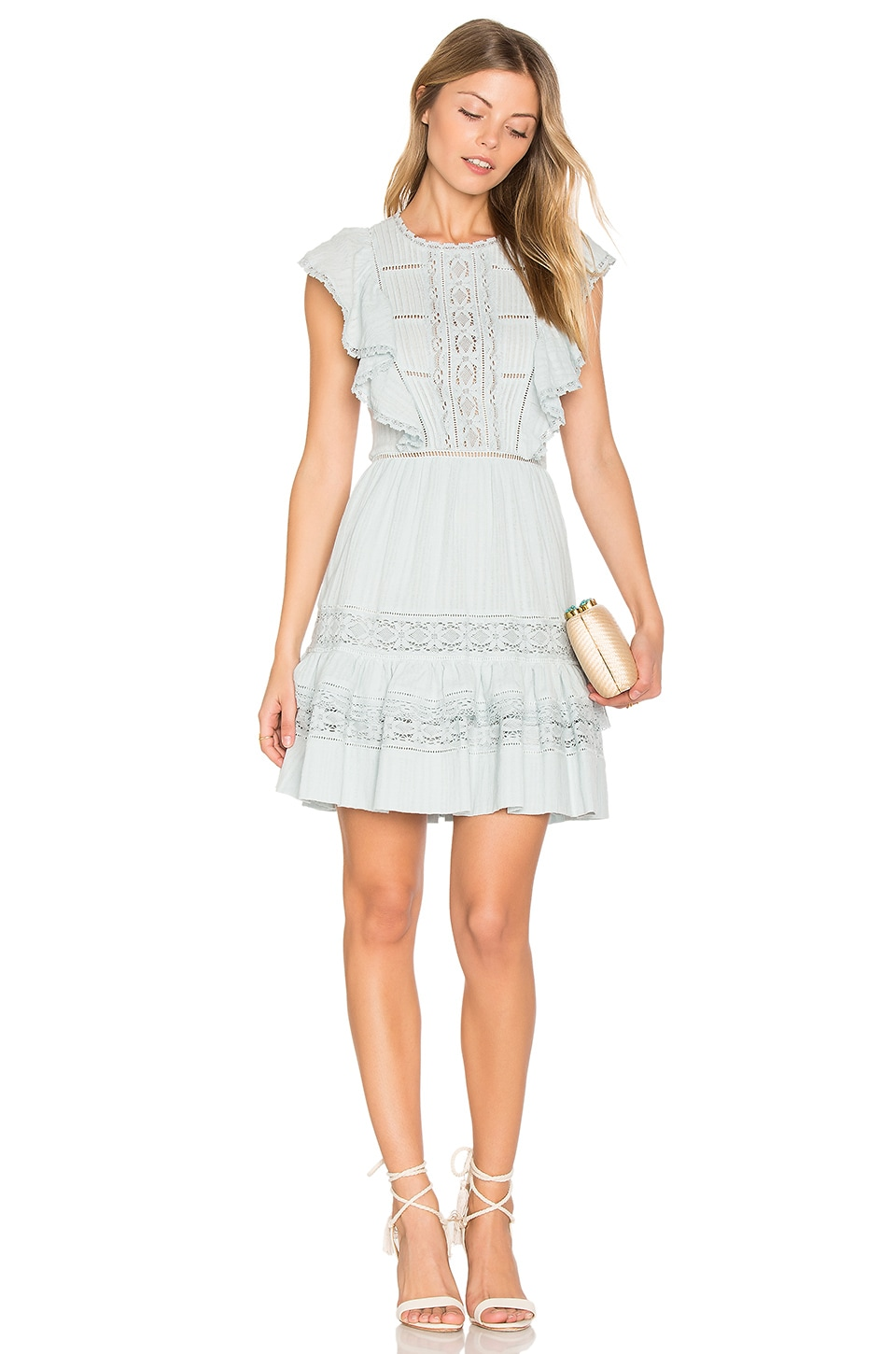 Rebecca Taylor Ruffle Mini Dress in Sea Spray