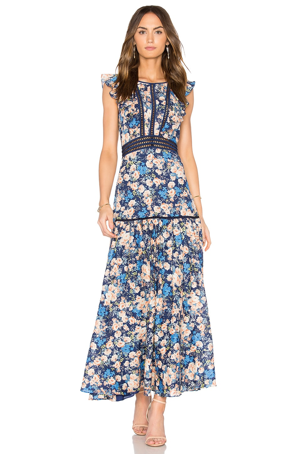 Rebecca Taylor Gigi Midi Dress in Navy Combo