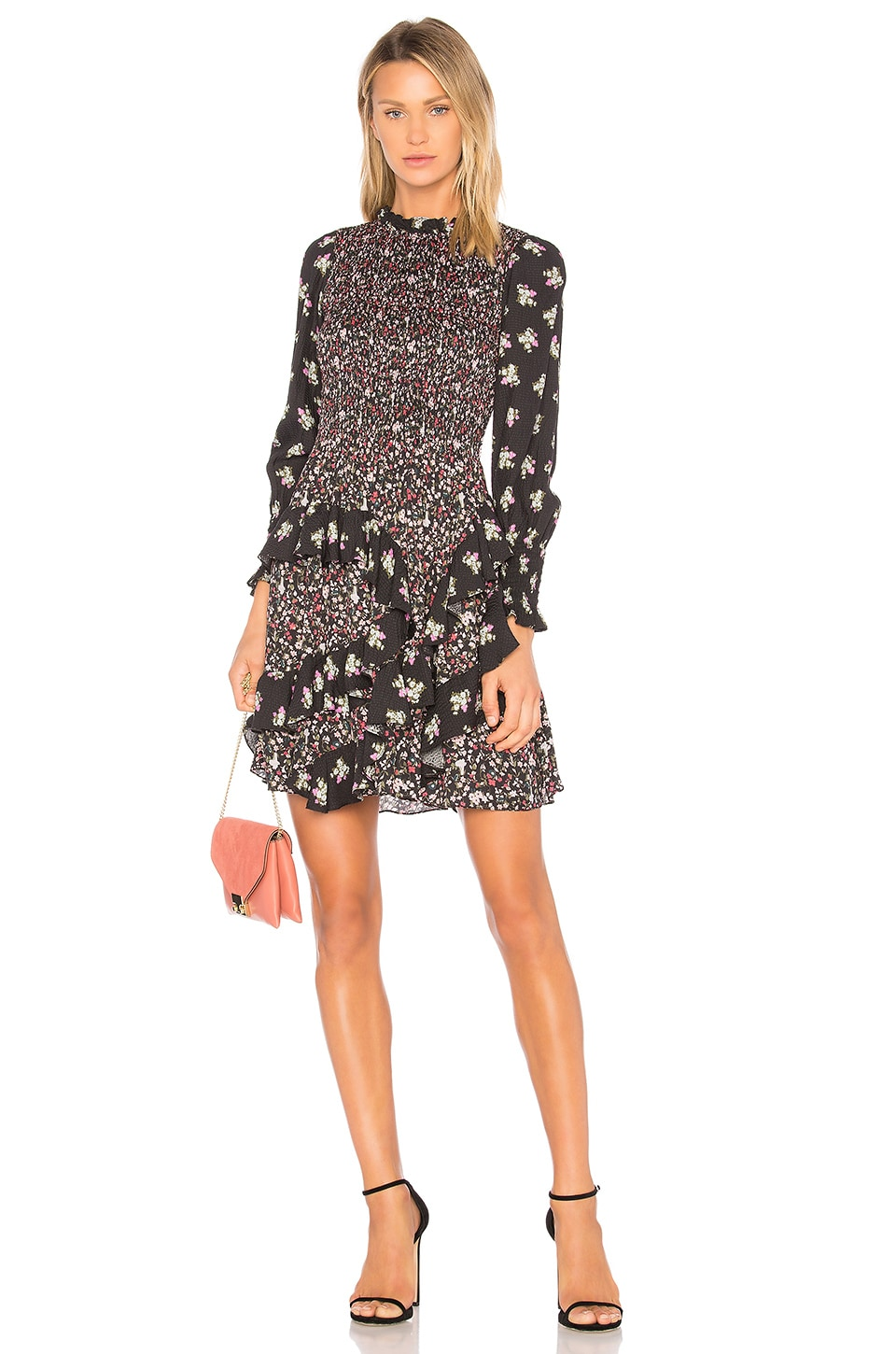 Rebecca Taylor Black Print Mix Dress