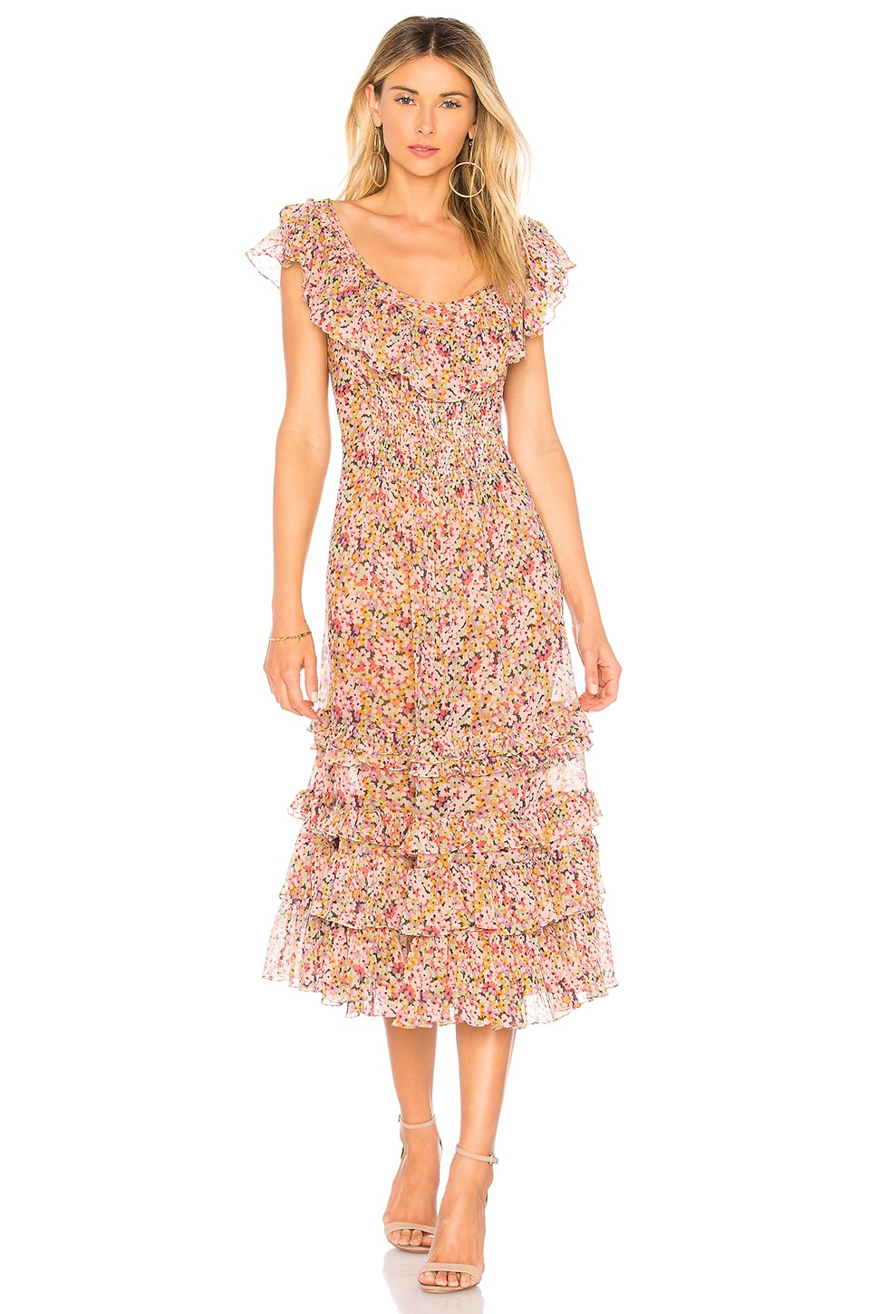Rebecca Taylor Margo Ruffle Dress in Multi Combo
