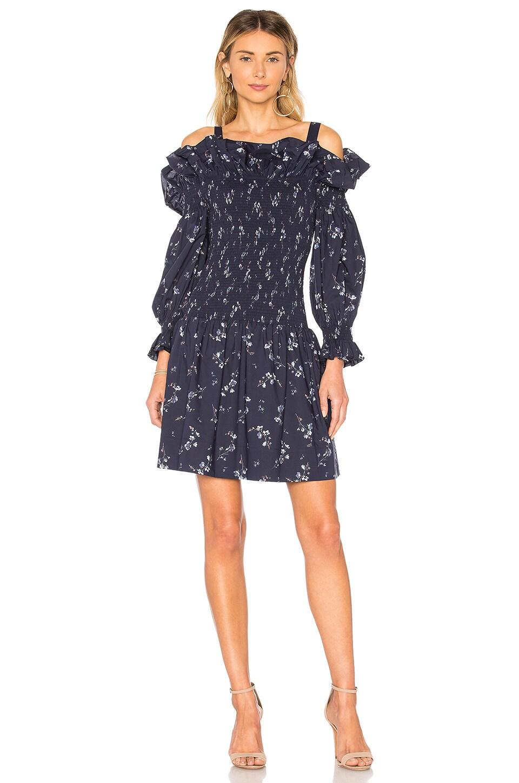 Rebecca Taylor Francine Off Shoulder Dress in Navy Combo