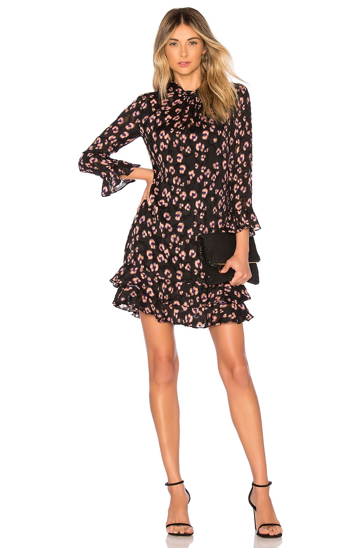 Rebecca Taylor Long Sleeve Cheetah Dress in Copper Combo