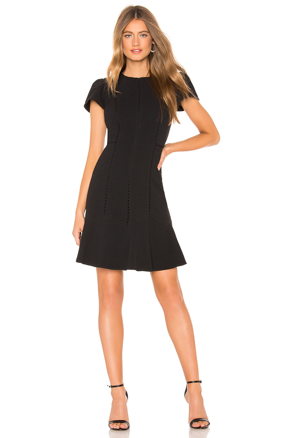 Rebecca Taylor Stretch Texture Mini Dress in Black