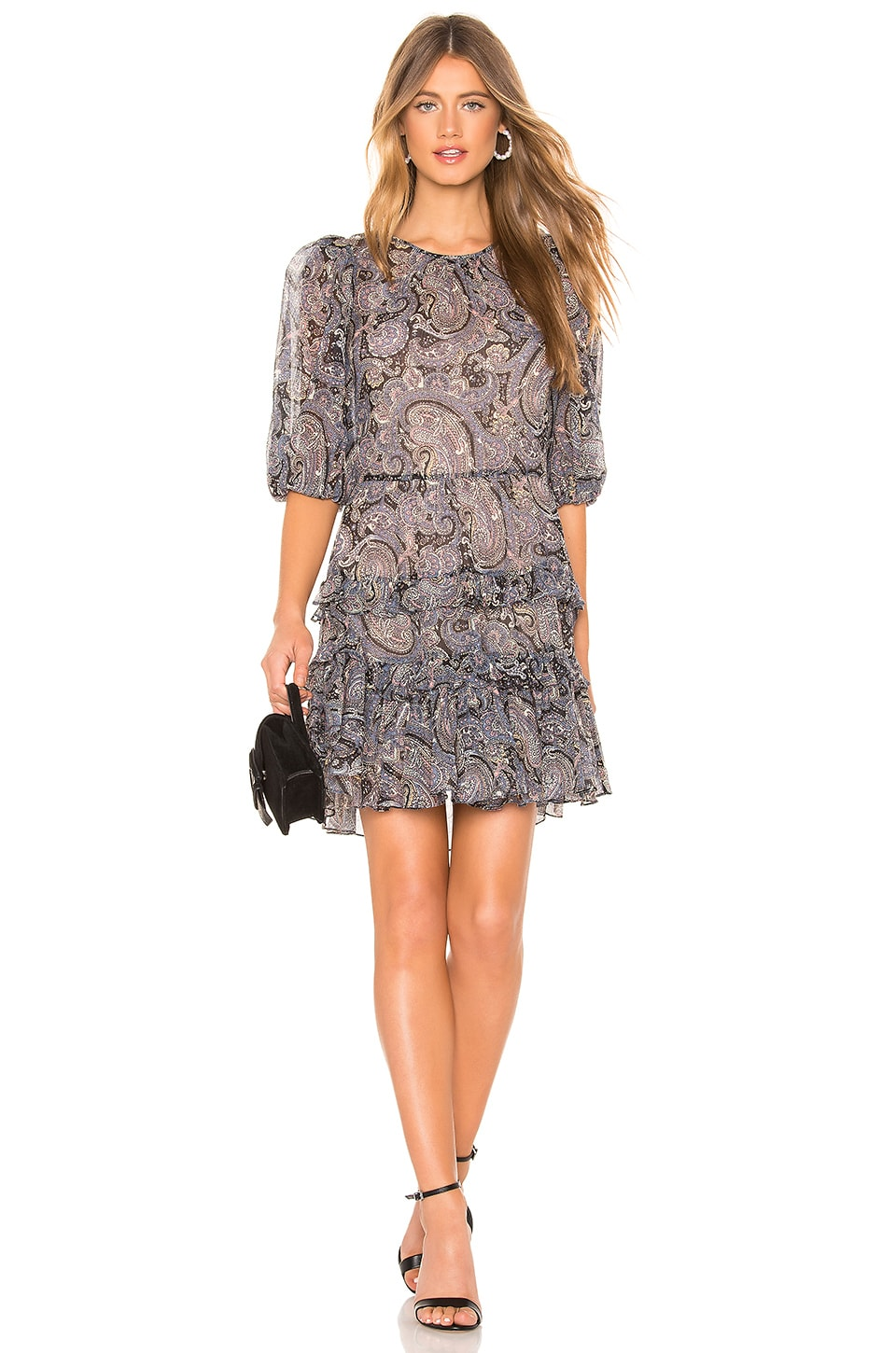 Rebecca Taylor Selene Paisley Dress in Bleu Combo