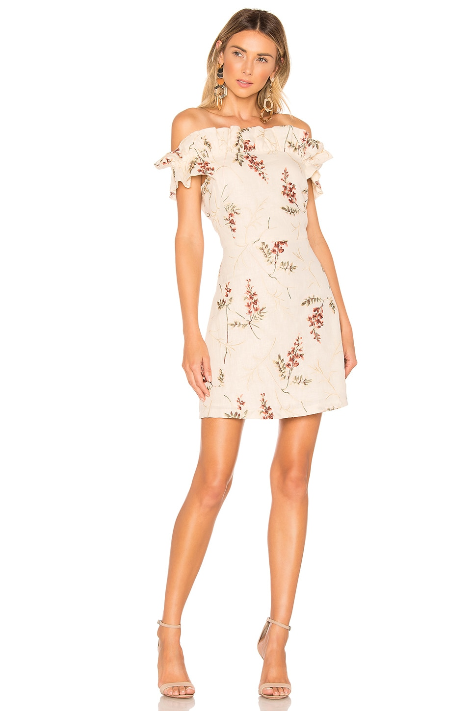 Rebecca Taylor Ivie Embroidered Dress in Cream Combo