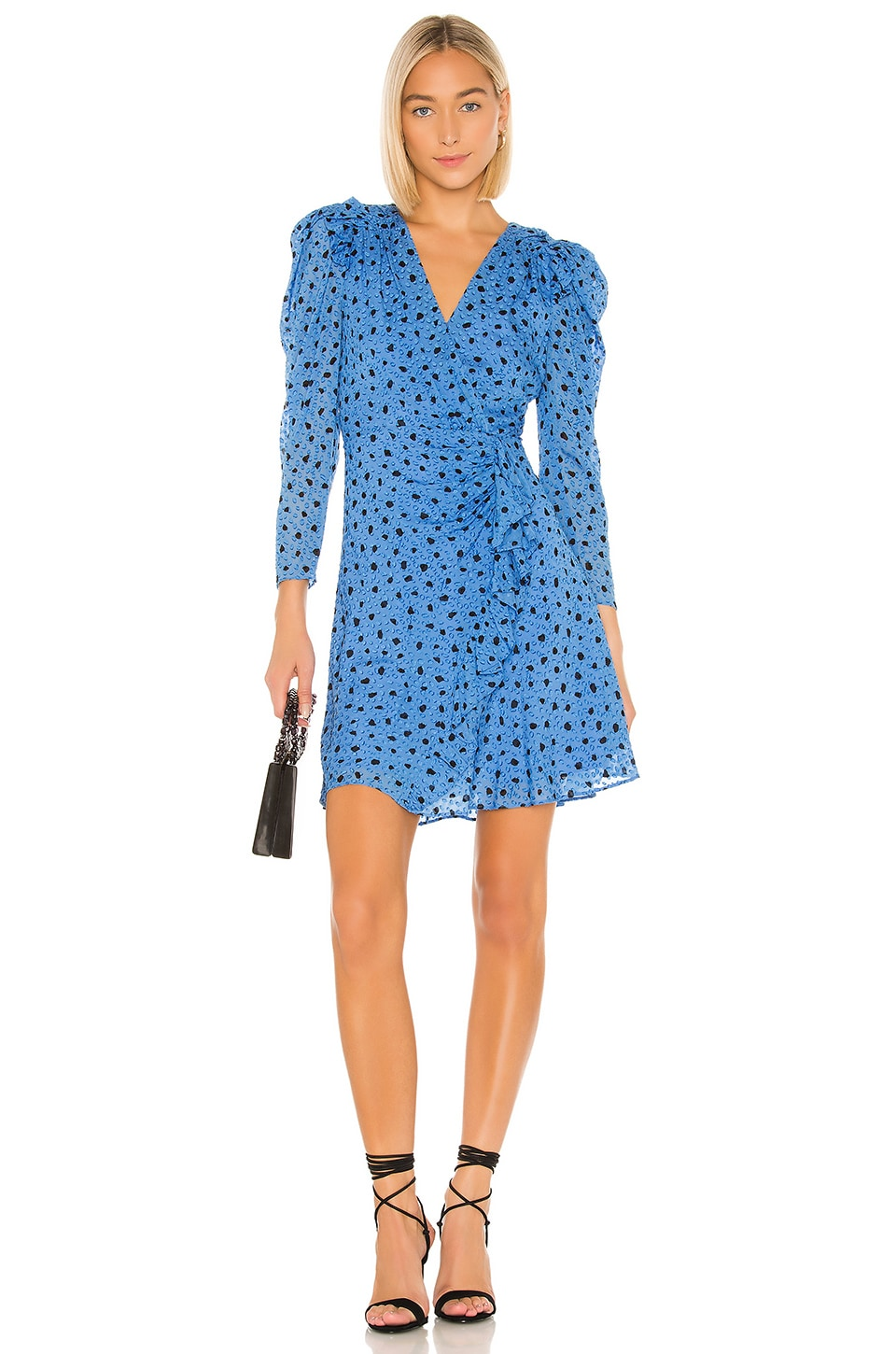 Rebecca Taylor Faux Wrap Long Sleeve Dot Wrap Dress in True Blue
