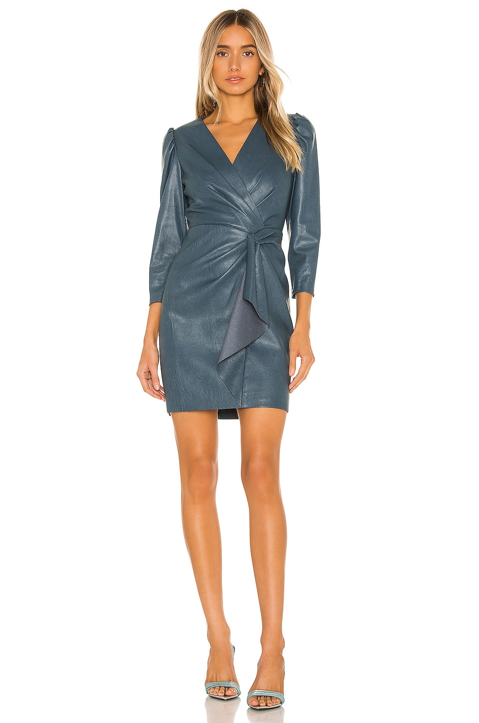 Rebecca Taylor Long Sleeve Vegan Leather Dress in Wave