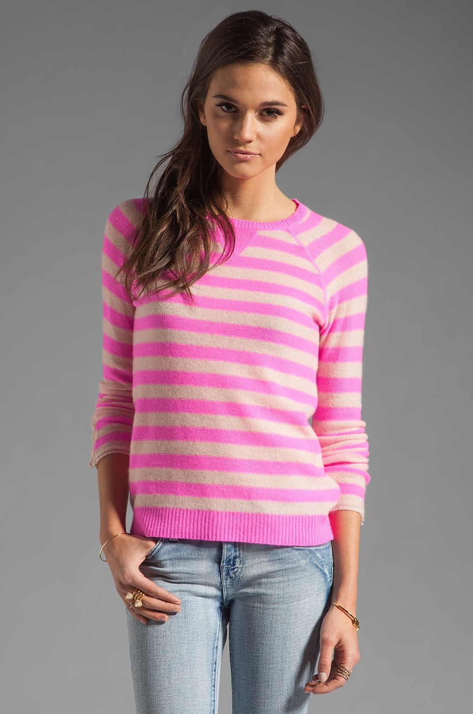 Rebecca Taylor Striped Pullover in Pink Combo