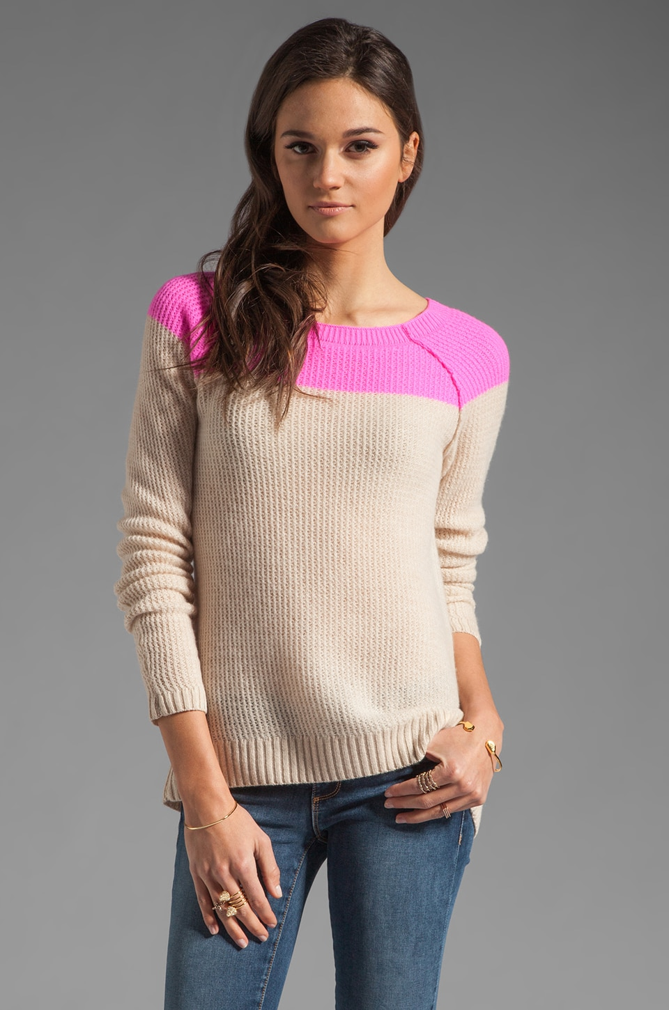 Rebecca Taylor Pullover in Pink and Oatmeal