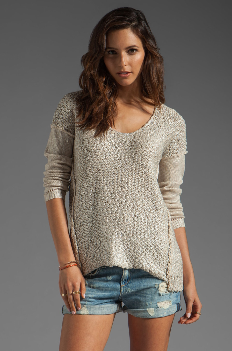 Rebecca Taylor Long Sleeve Pullover in Sand