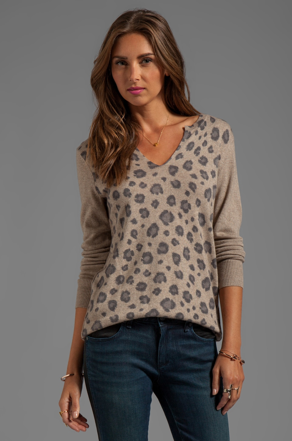 Rebecca Taylor Leopard Slit Sweater in Fawn Combo