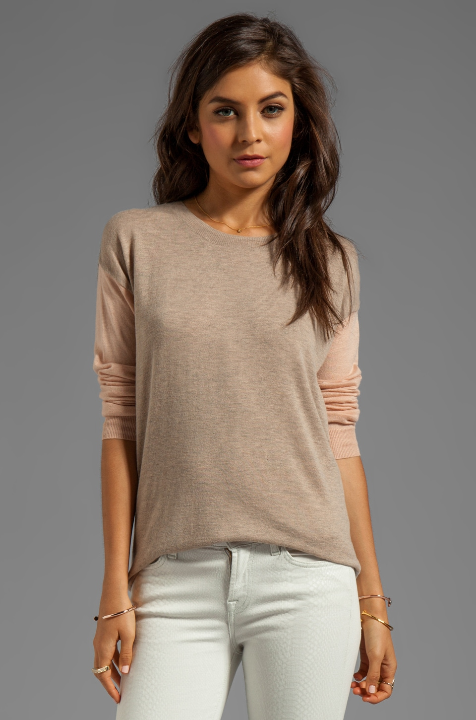 Rebecca Taylor Colorblocked Crew Sweater in Camel/Rose