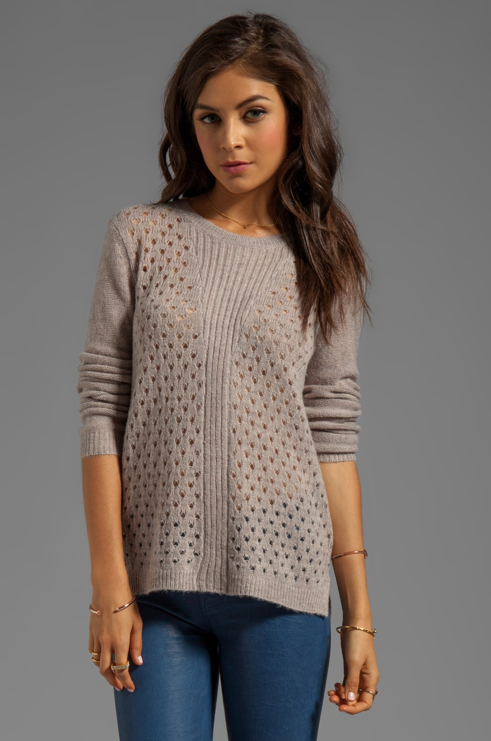 Rebecca Taylor Open Stitch Pullover in Fawn/Chisel Heather