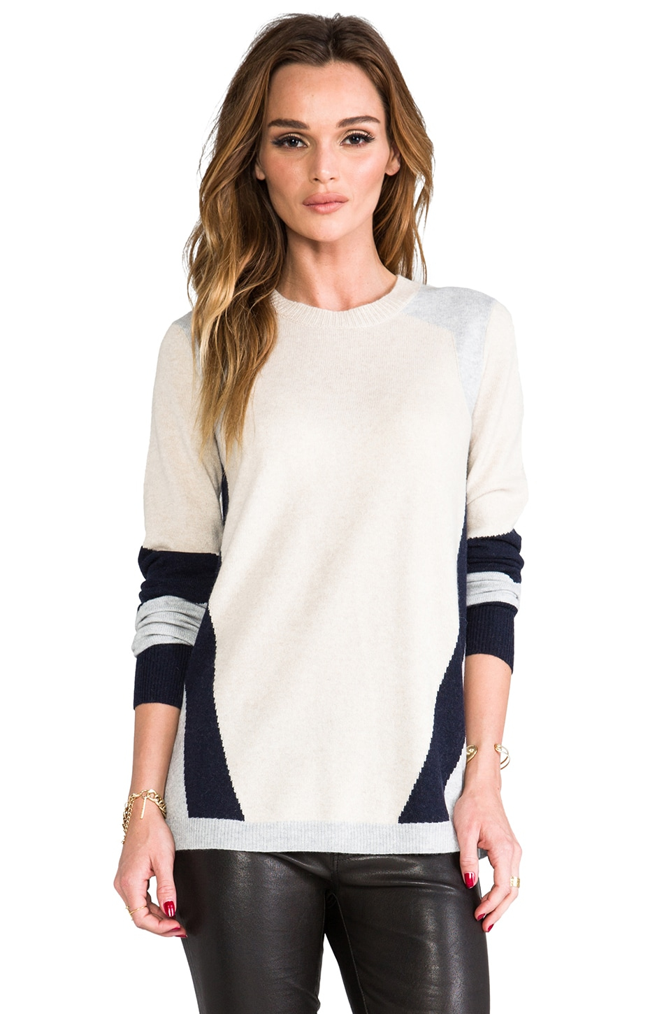 Rebecca Taylor Colorblocked Intarsia Sweater in Oatmeal Combo