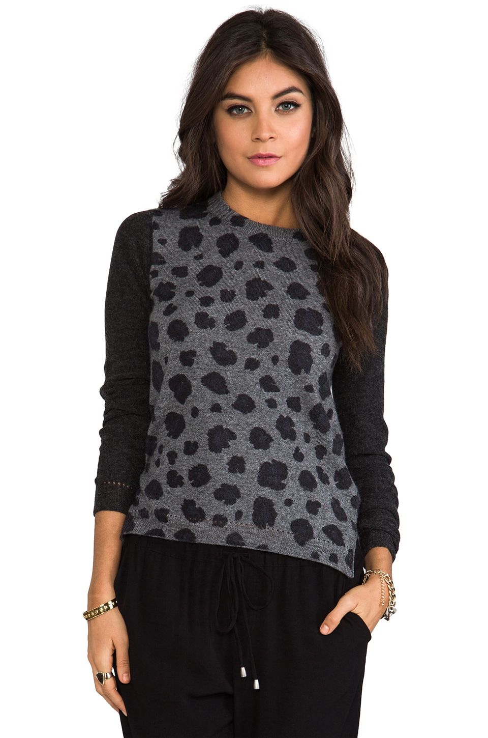 Rebecca Taylor Blocked Leopard Pullover Sweater in Grey Heather Combo