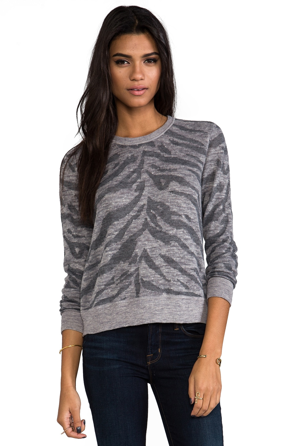Rebecca Taylor Zebra Pullover in Grey & Charcoal