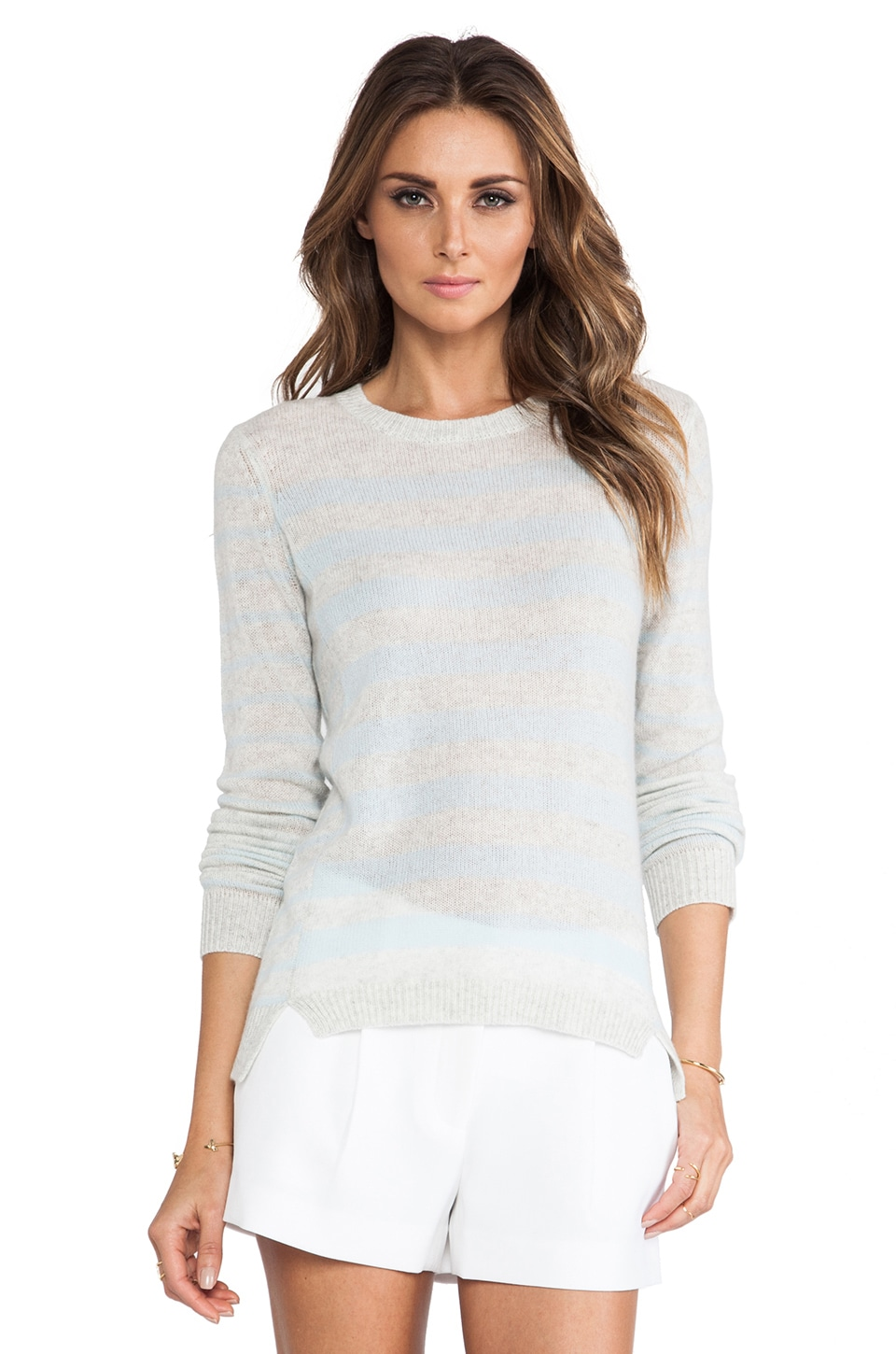 Rebecca Taylor Cashmere Striped Sweater in Robbin's Egg Combo