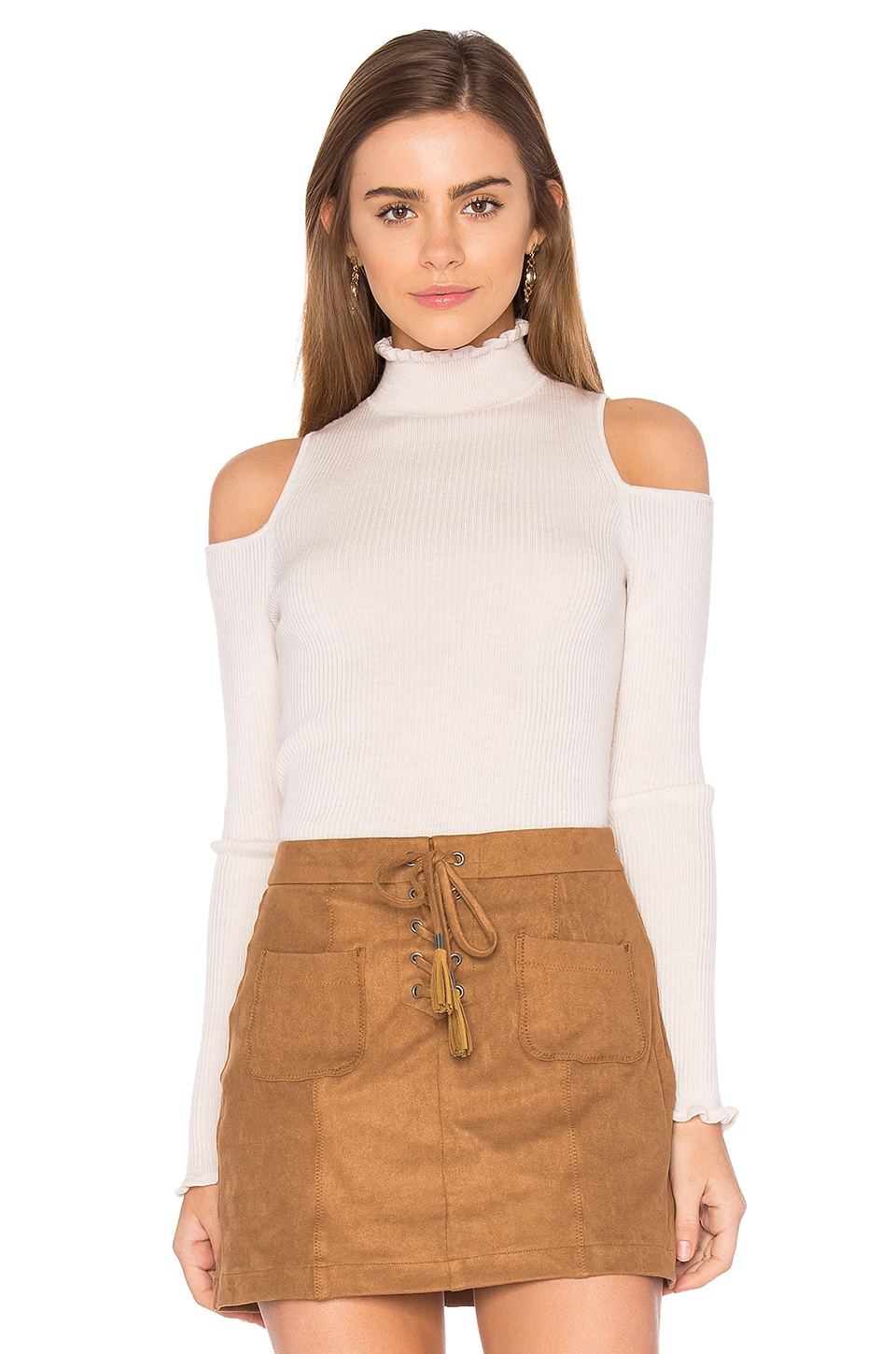 Open Shoulder Ribbed Pullover by Rebecca Taylor