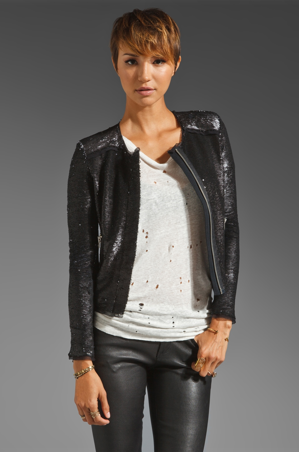Rebecca Taylor All Over Sequin Jacket in Caviar