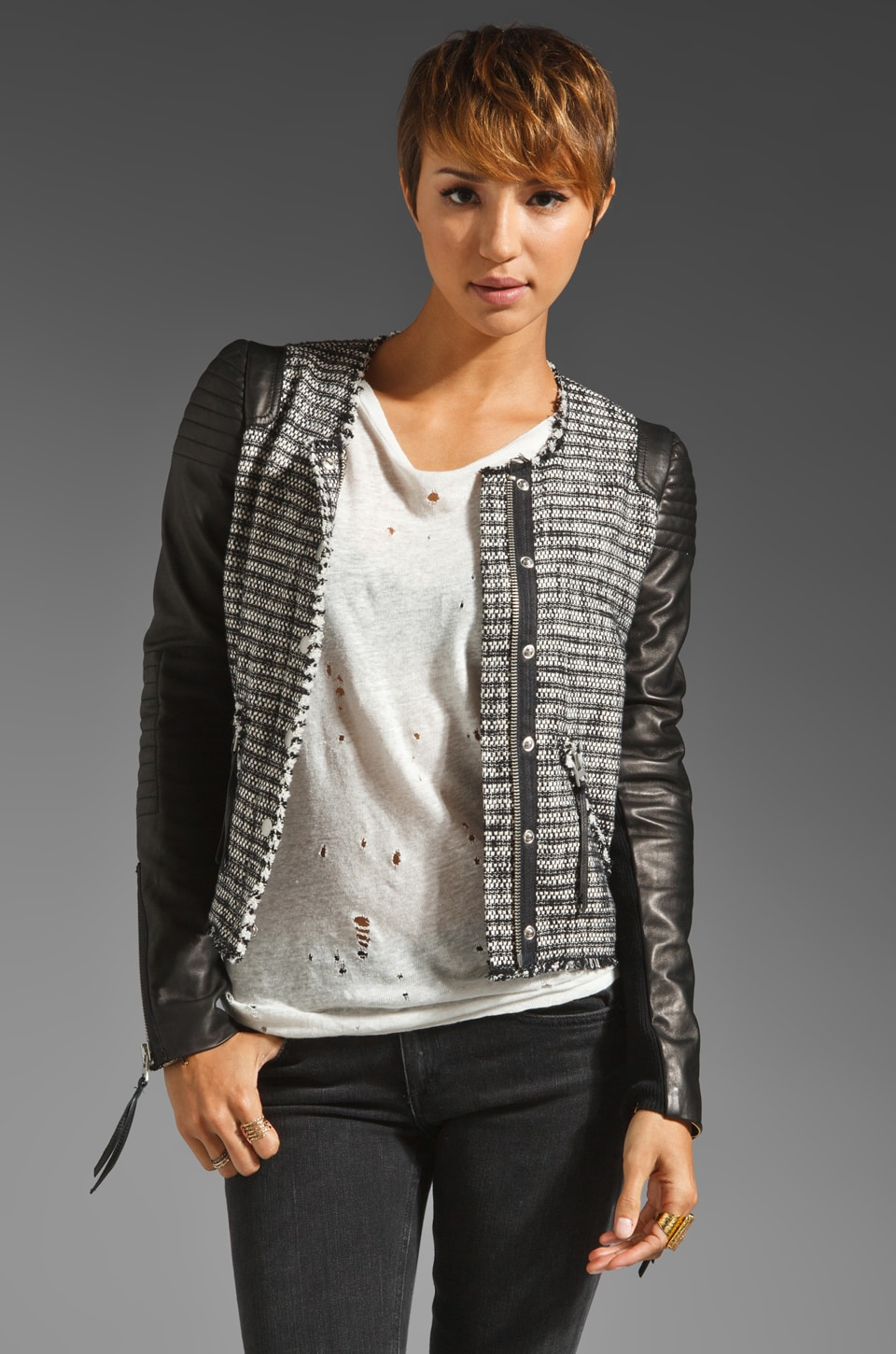 Rebecca Taylor Tweed and Leather Jacket in Black