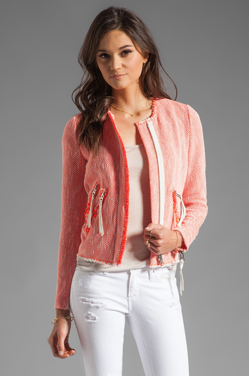 Rebecca Taylor Neon Tweed Jacket in Coral