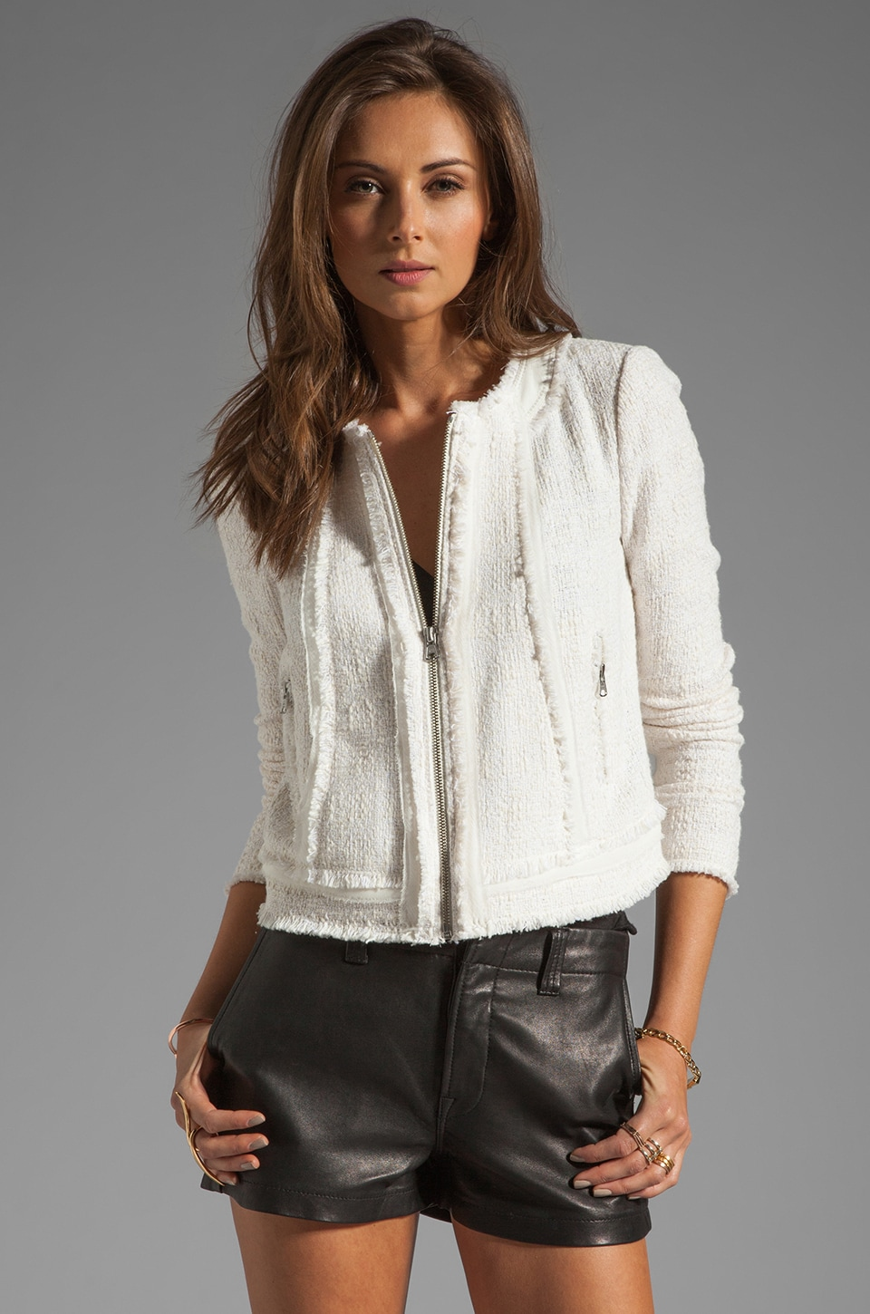 Rebecca Taylor Tweed Jacket in Cream/Optic White