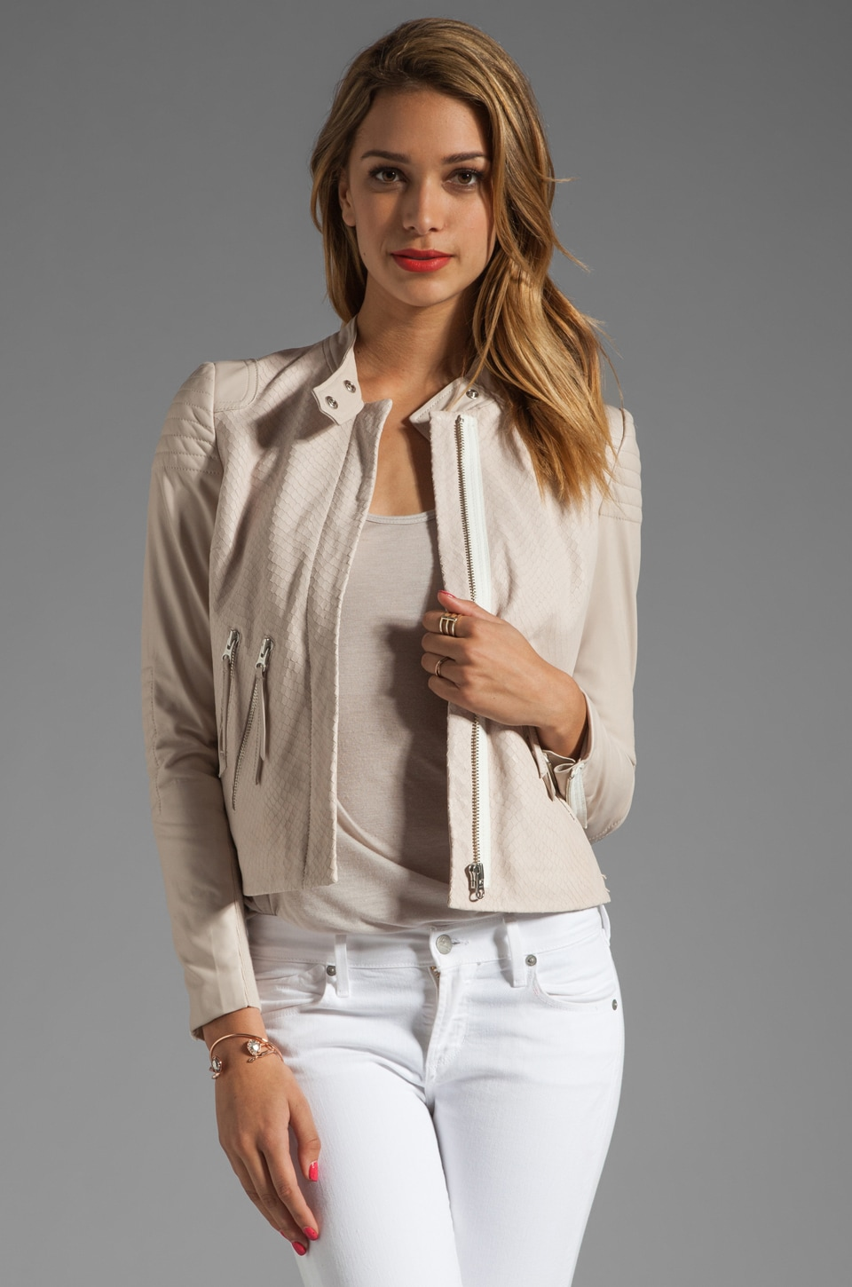 Rebecca Taylor Leather Moto Jacket in Stone