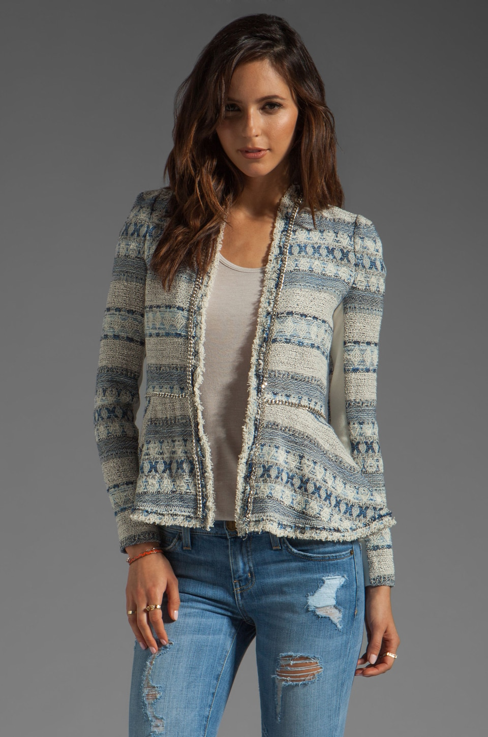 Rebecca Taylor Tweed & Chain Jacket in Blue