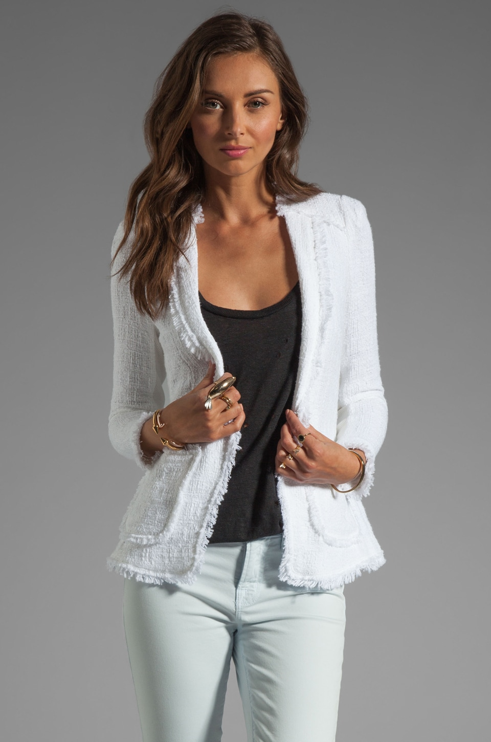 Rebecca Taylor Tweed Jacket in Optic White