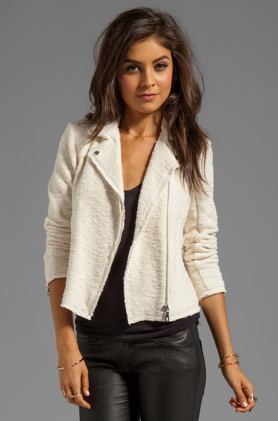 Rebecca Taylor Boucle Moto Jacket in Cream