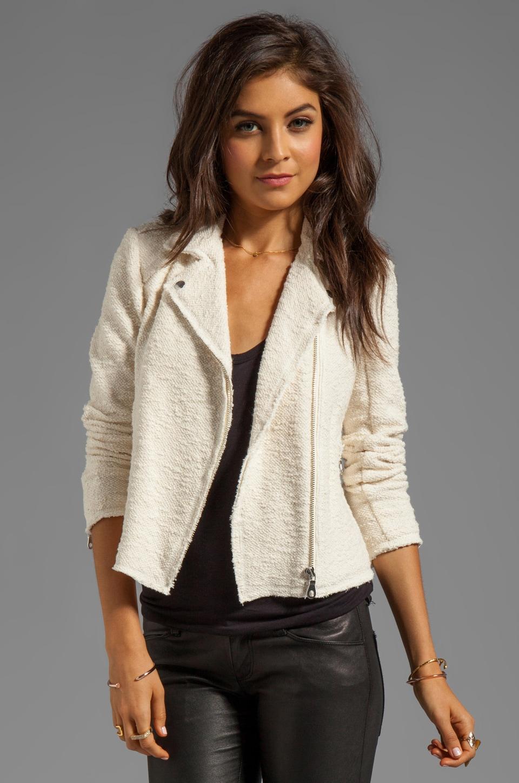 Rebecca Taylor Boucle Moto Jacket in Cream