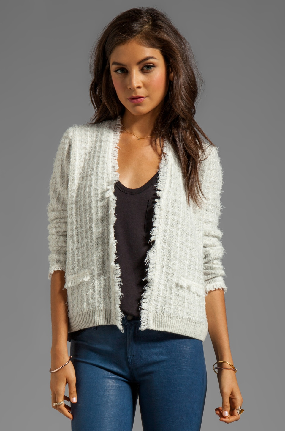 Rebecca Taylor Knit Blazer in Heather Grey/Cream