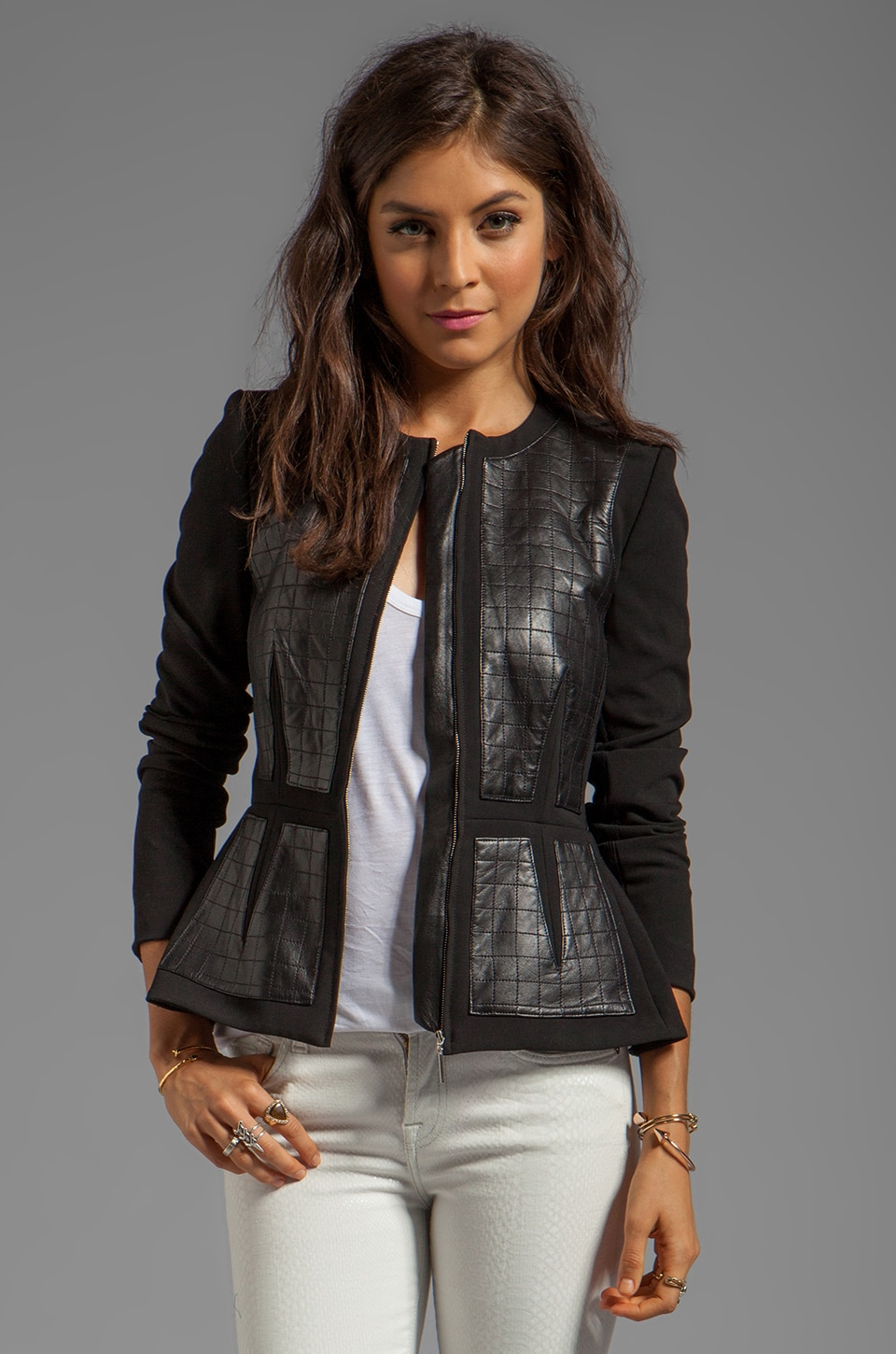 Rebecca Taylor Quilted Leather Jacket in Black