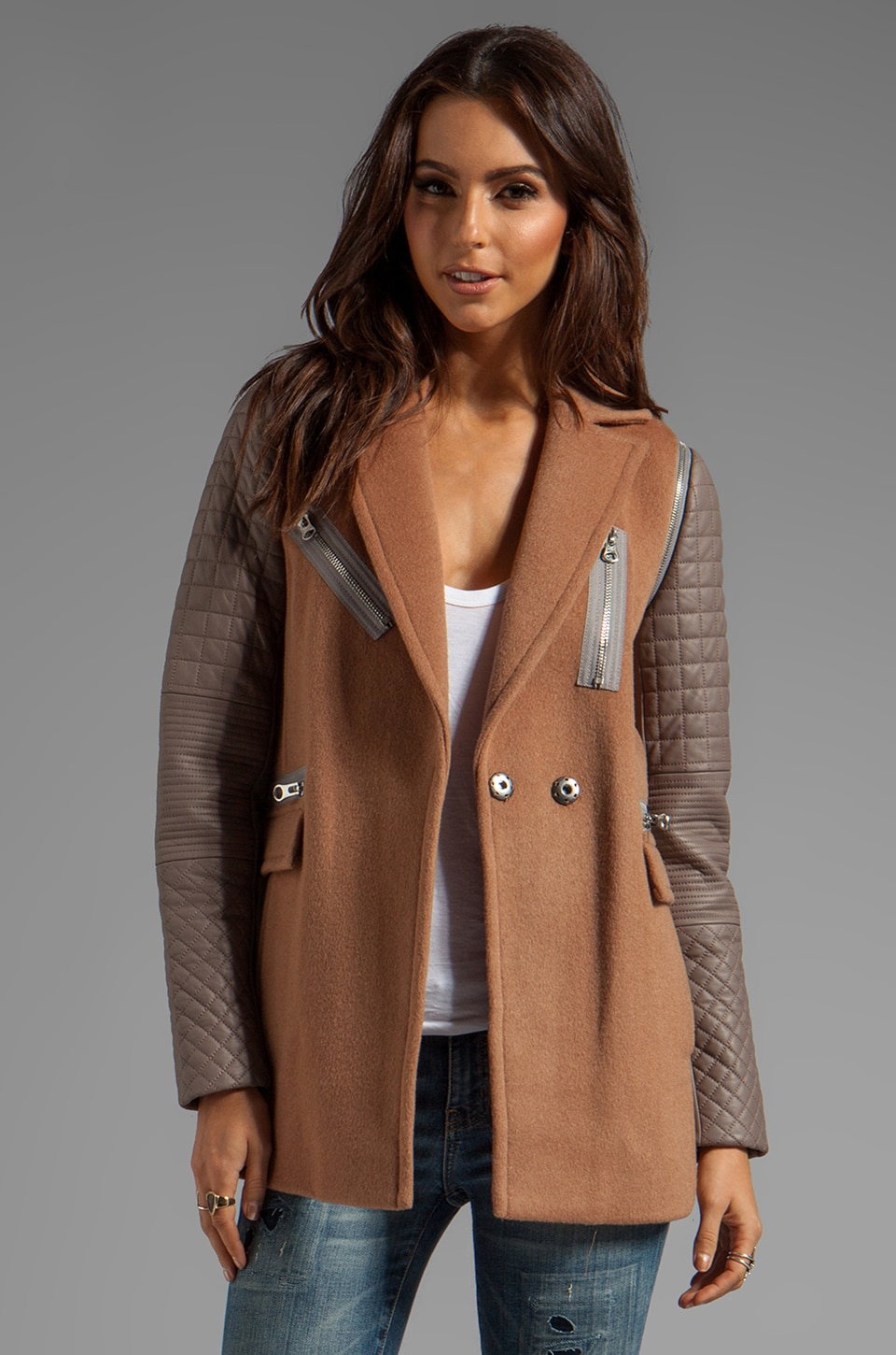 Rebecca Taylor RUNWAY Removable Leather Sleeved Coat in Rose