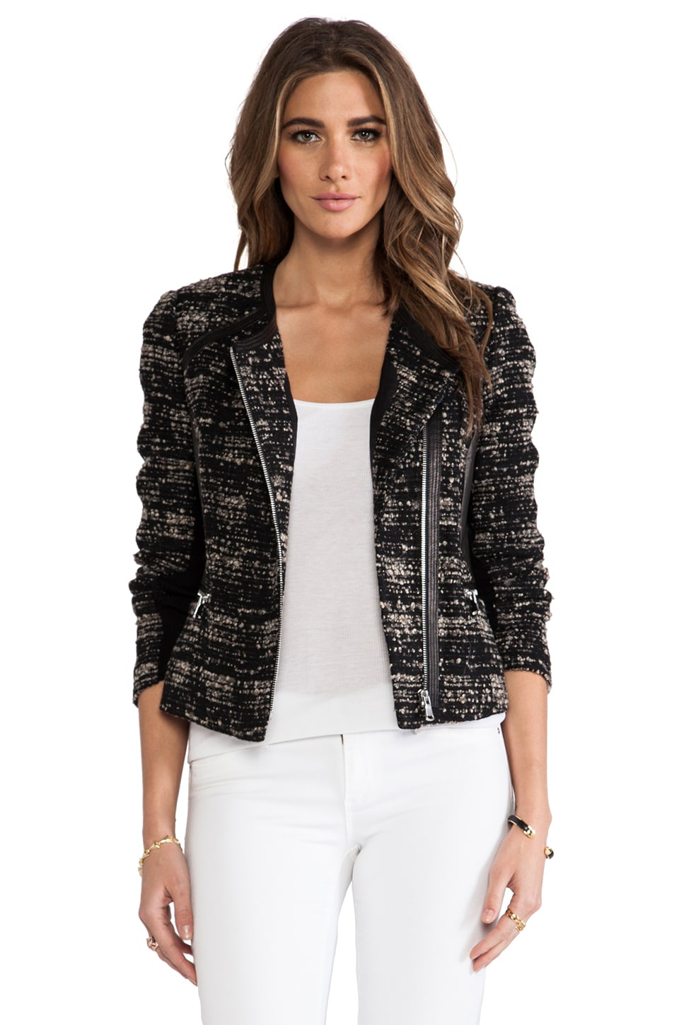Rebecca Taylor Boucle and Leather Blazer in Camel