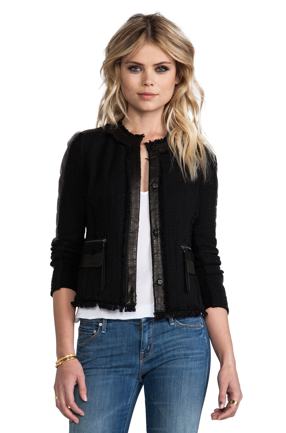 Rebecca Taylor Tweed Fitted Blazer in Black