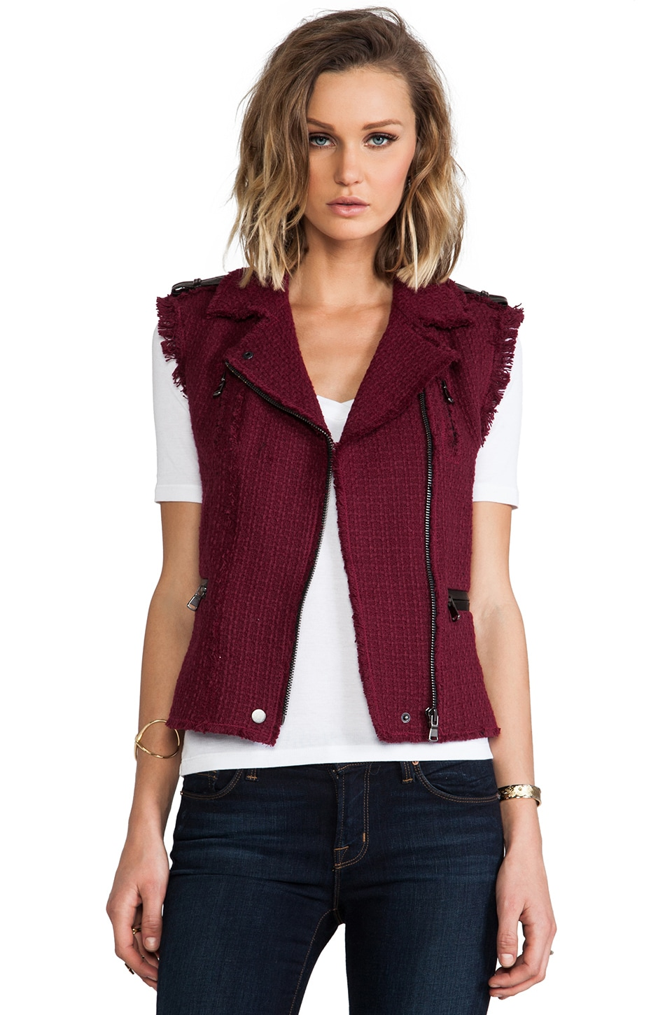 Rebecca Taylor Tweed Moto Vest in Bordeaux