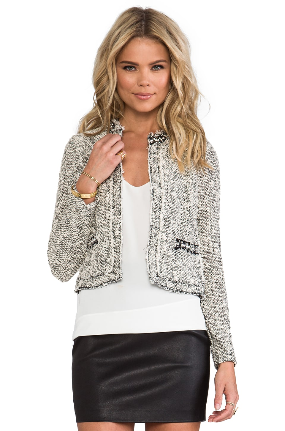 Rebecca Taylor Embellished Tweed Jacket in Cream
