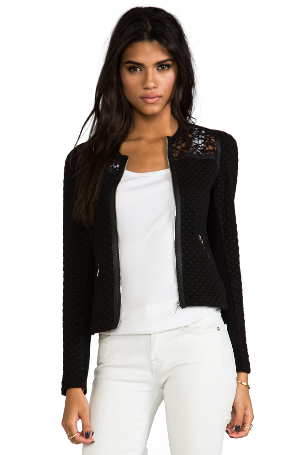 Rebecca Taylor Quilted Jacquard Jacket in Black