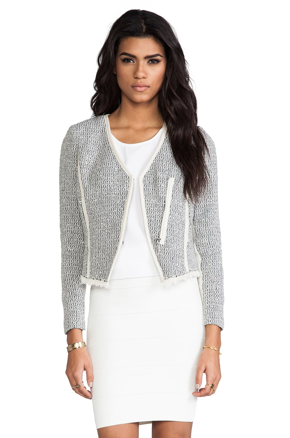 Rebecca Taylor Cutaway Tweed Jacket in Charcoal