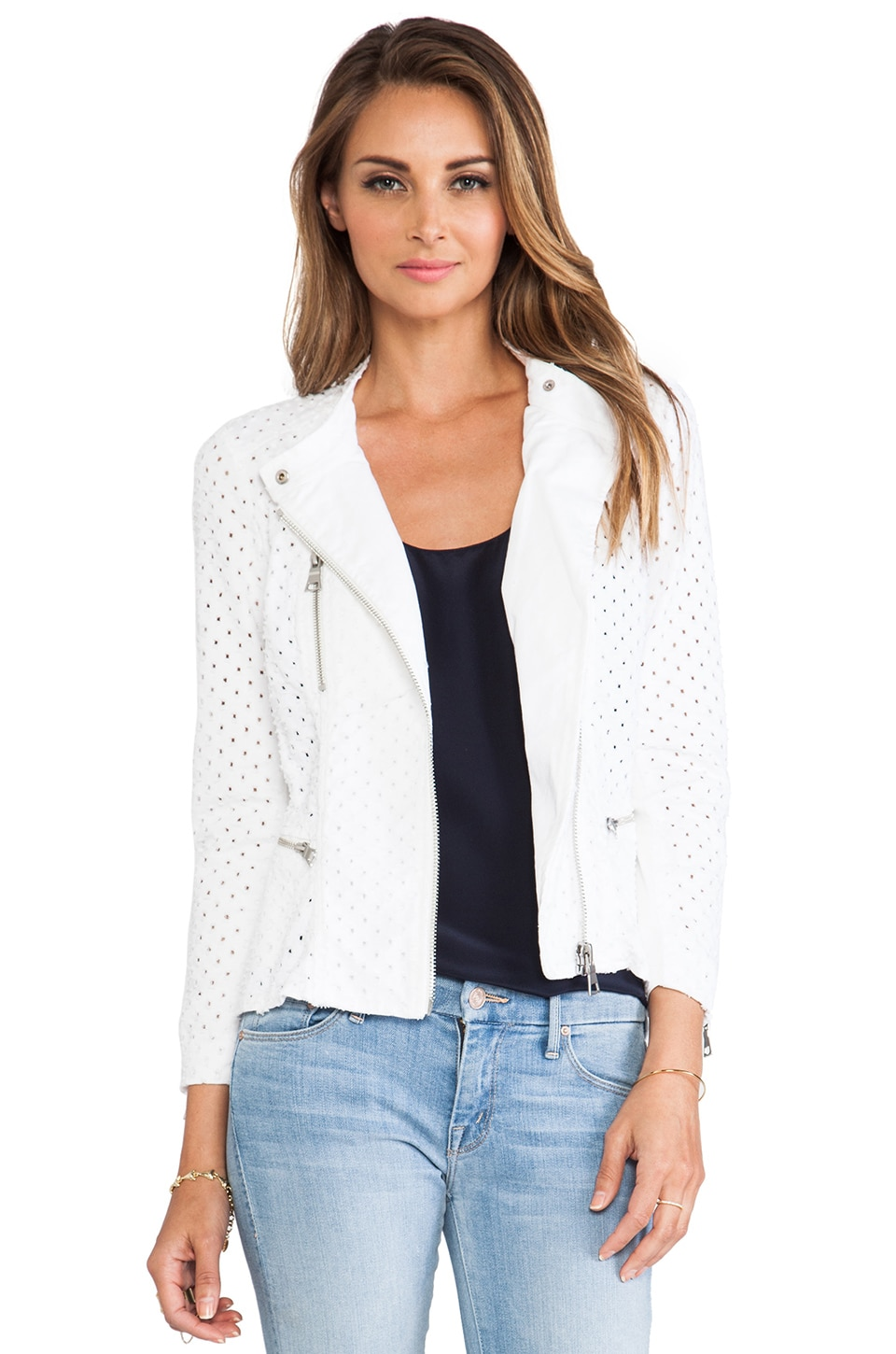 Rebecca Taylor Punched Denim Jacket in White