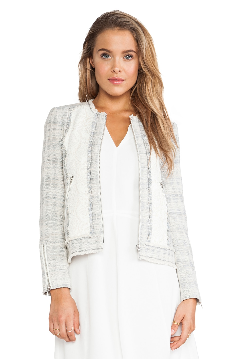 Rebecca Taylor Mixed Tweed & Lace Jacket in Cream Mix
